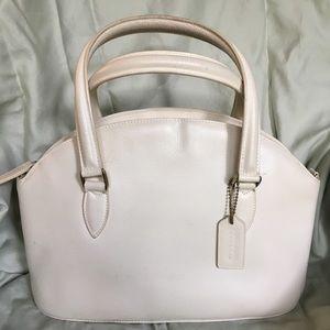 Classic cream leather Coach satchel
